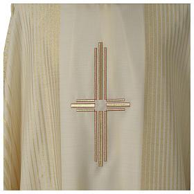 Kasel gesteifte Wolle und Lurex mit Kreuz s2