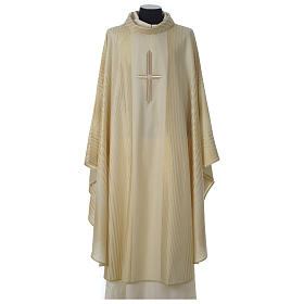 Chasuble in lurex wool with cross s1