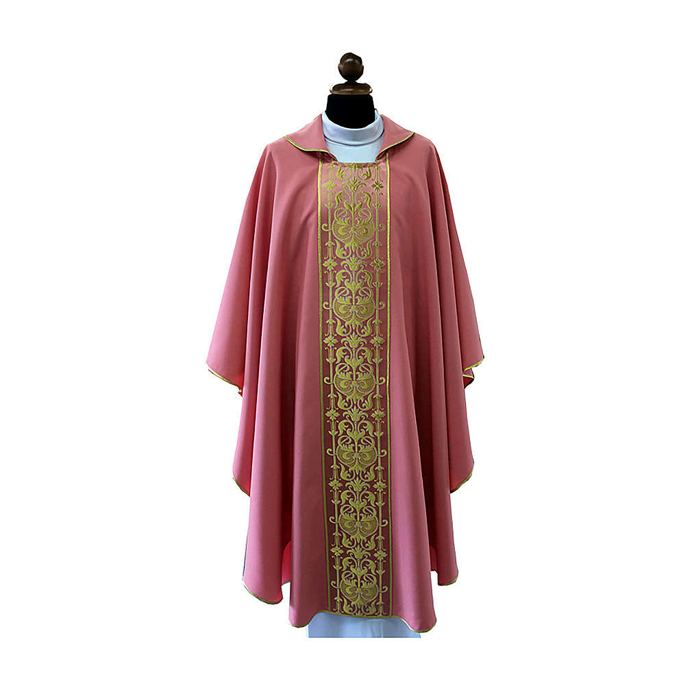 Pink chasuble with frontal orphrey 4