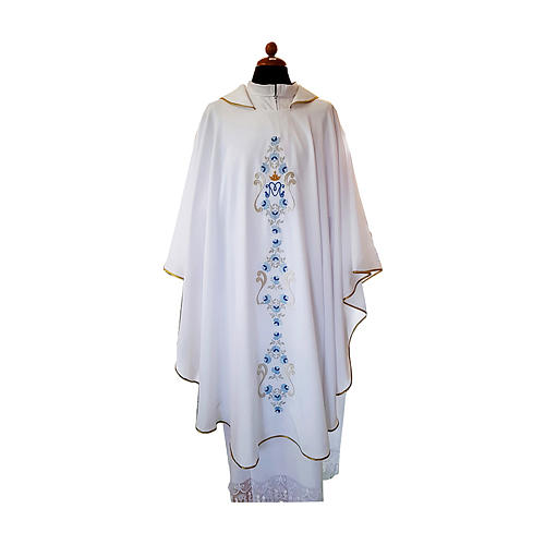 White Marian Chasuble with light blue embroidery and front and back 1