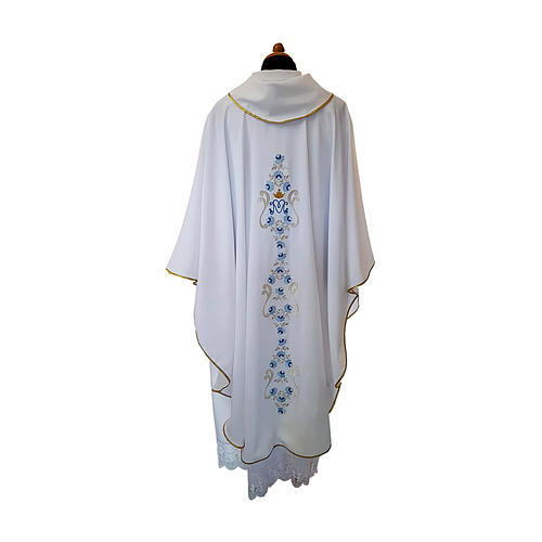 White Marian Chasuble with light blue embroidery and front and back 2