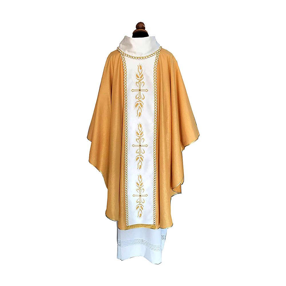 Casula tessuto Papale dorato stolone ricamo e pietre 4