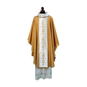 Casula tessuto Papale dorato stolone ricamo e pietre s1