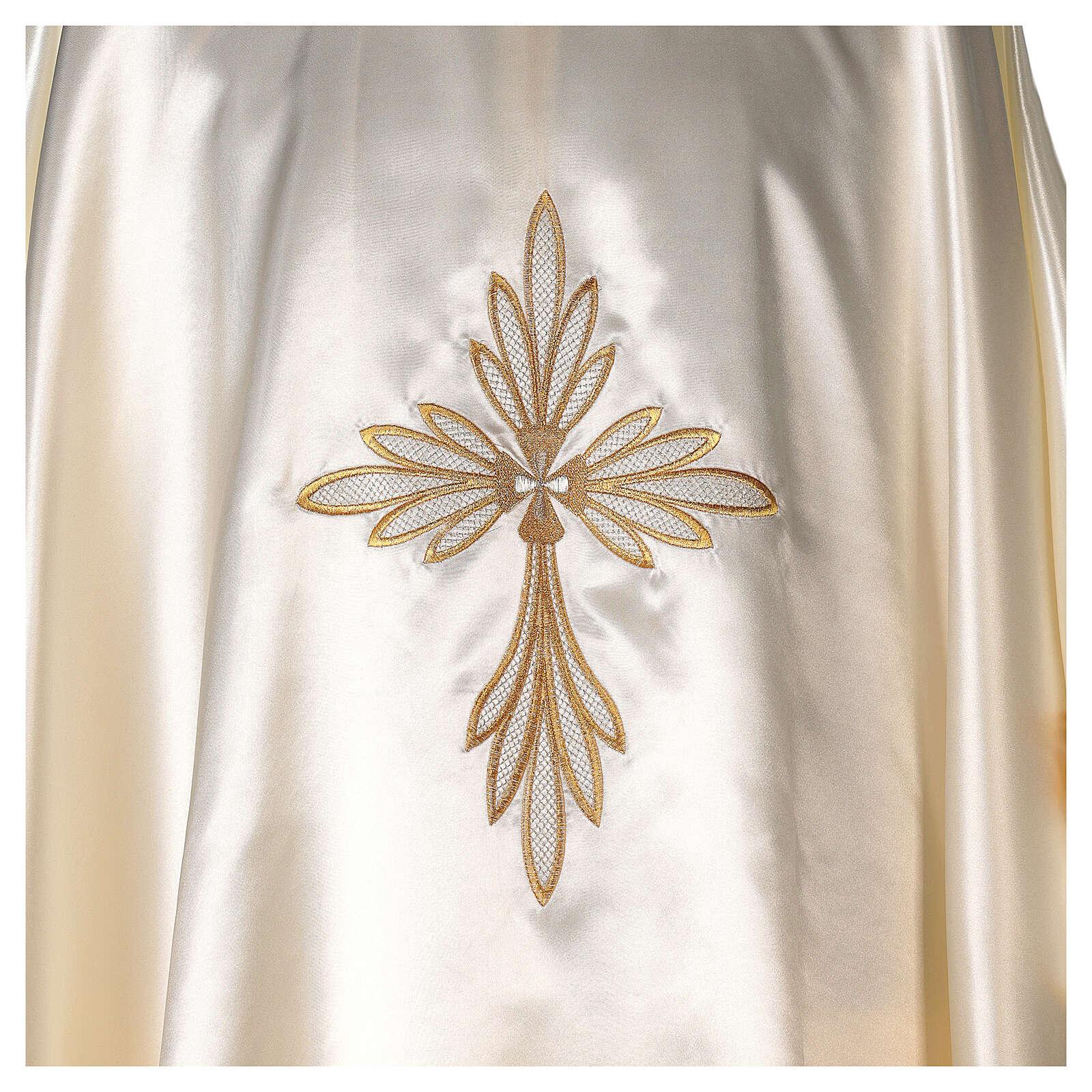 Casula in raso ricami oro con croce 4