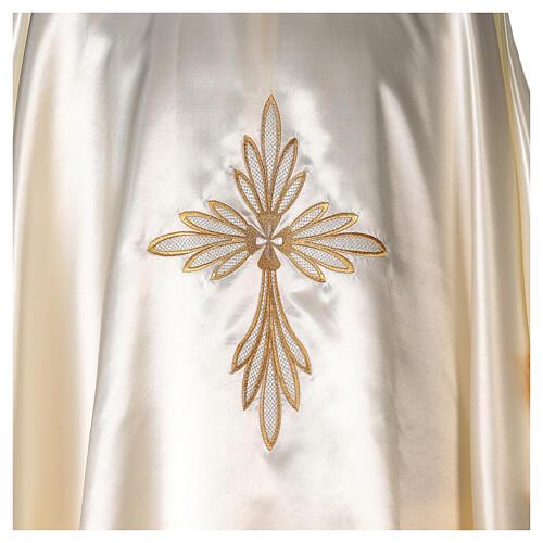 Casula in raso ricami oro con croce 2