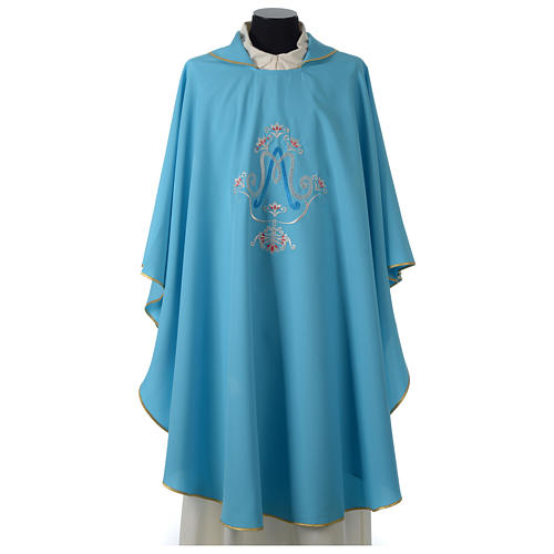 Chasuble bleue symbole marial 1