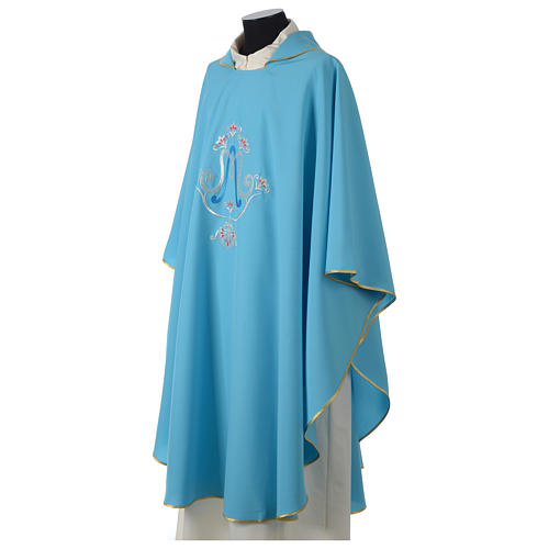 Chasuble bleue symbole marial 6