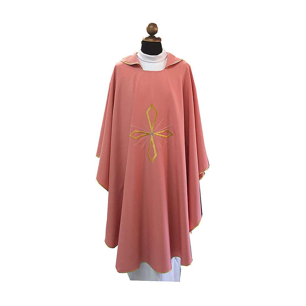 Casula rosa croce ricamata e pietre brillanti 4