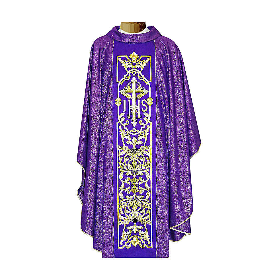 Chasuble 100% wool with embroidery, double twisted yarn 4