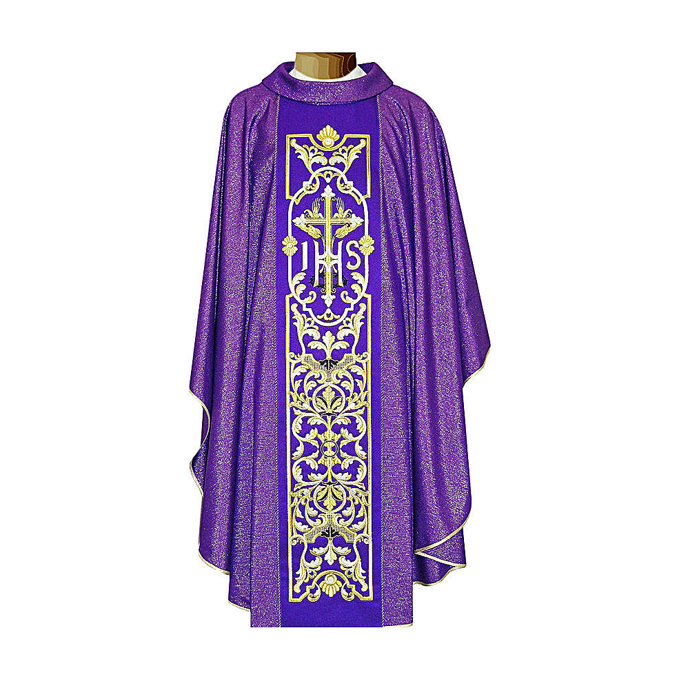 Chasuble 90% wool with embroidery, double twisted yarn 4