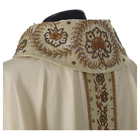 Chasuble 100% silk with handmade embroidery on gallon, V neckline s2