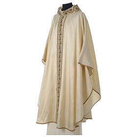Chasuble 100% silk with handmade embroidery on gallon, V neckline s3