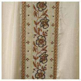 Chasuble 100% silk with handmade embroidery on gallon, V neckline s6
