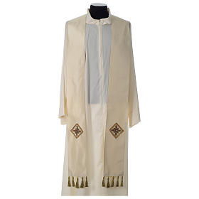 Chasuble 100% silk with handmade embroidery on gallon, V neckline s8