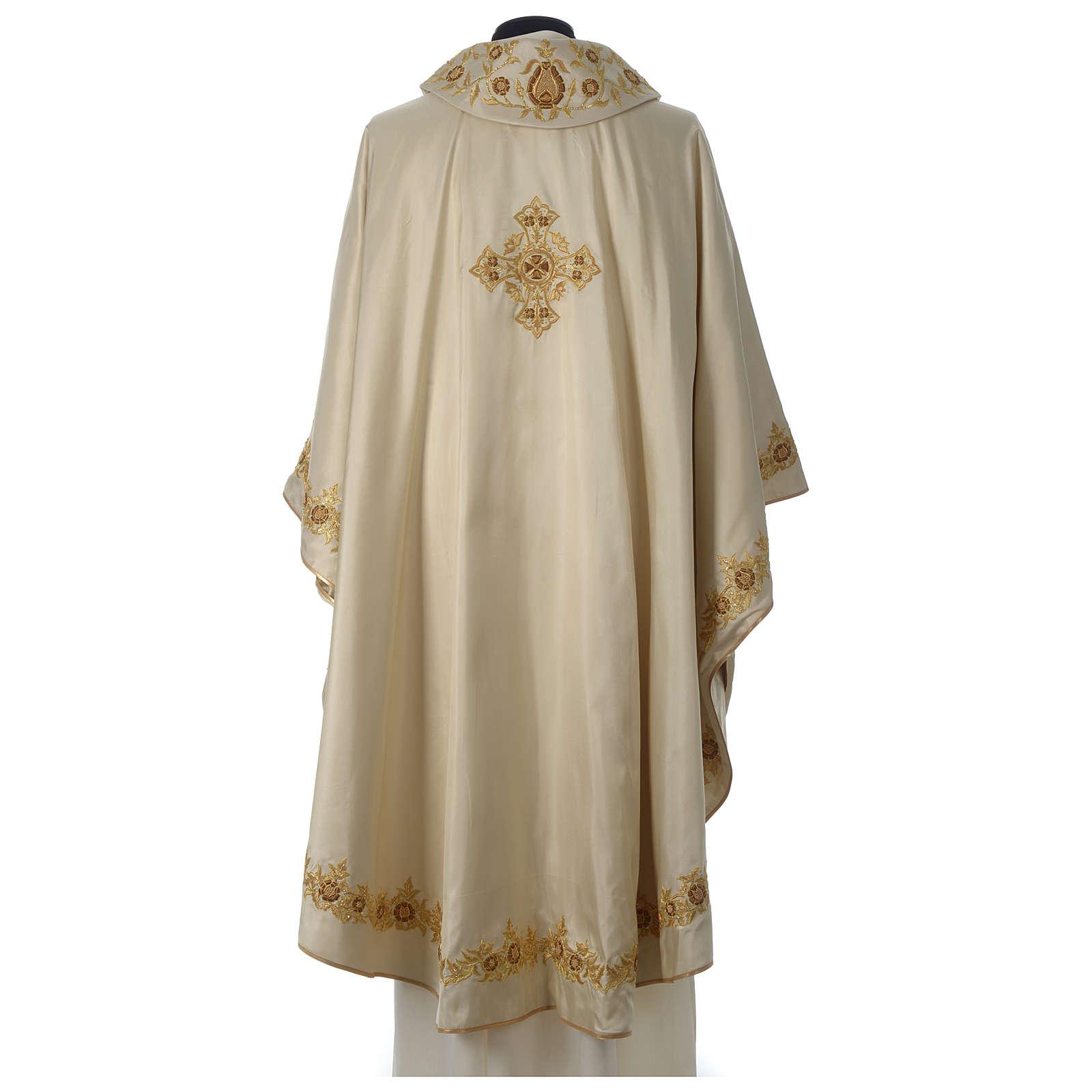 Casula 100% seta croce ricamo a mano collo cattedrale 4