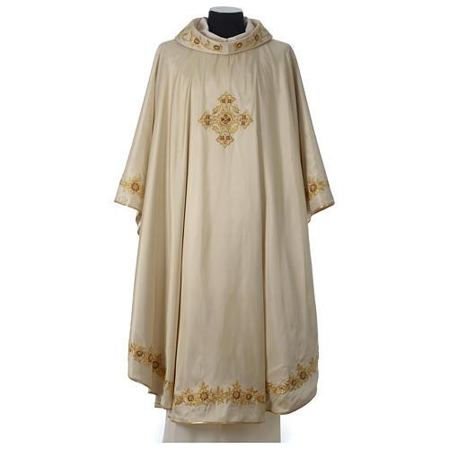 Casula 100% seta croce ricamo a mano collo cattedrale 1