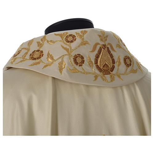 Casula 100% seta croce ricamo a mano collo cattedrale 2