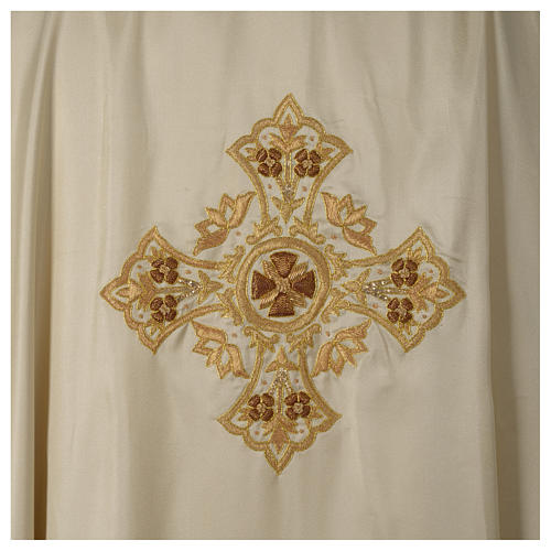 Casula 100% seta croce ricamo a mano collo cattedrale 6