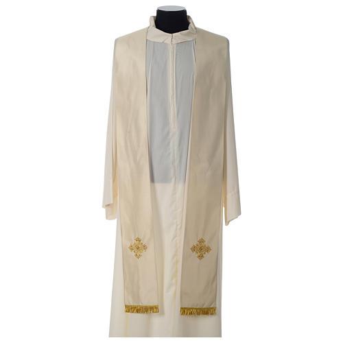 Casula 100% seta croce ricamo a mano collo cattedrale 9