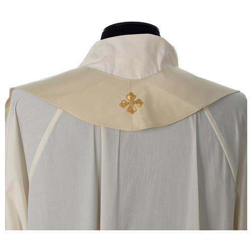 Casula 100% seta croce ricamo a mano collo cattedrale 10