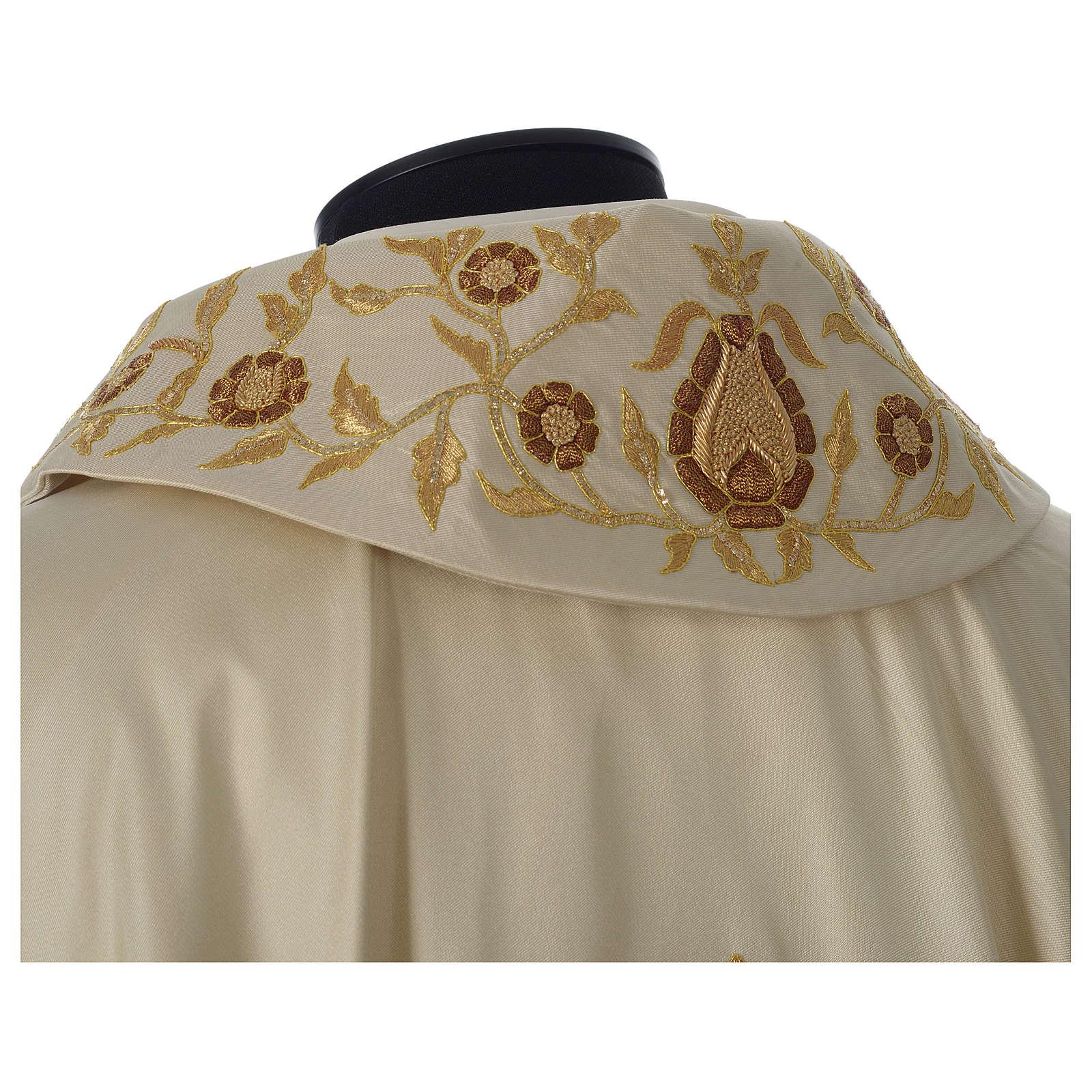 Casula 100% Seda Cruz Bordada à Mão pescoço estilo Catedral 4