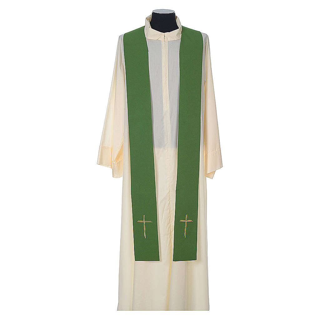Chasuble in wool with velvet IHS symbol and embroidery 4