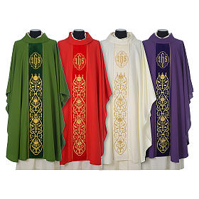 Chasuble in wool with velvet IHS symbol and embroidery s1