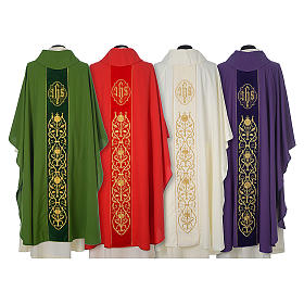 Chasuble in wool with velvet IHS symbol and embroidery s2