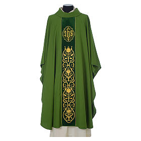 Chasuble in wool with velvet IHS symbol and embroidery s3
