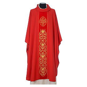 Chasuble in wool with velvet IHS symbol and embroidery s4