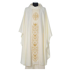 Chasuble in wool with velvet IHS symbol and embroidery s5