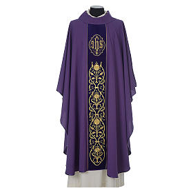 Chasuble in wool with velvet IHS symbol and embroidery s6