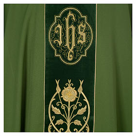Chasuble in wool with velvet IHS symbol and embroidery s7