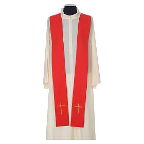 Chasuble in wool with velvet IHS symbol and embroidery s10