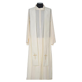 Chasuble in wool with velvet IHS symbol and embroidery s11