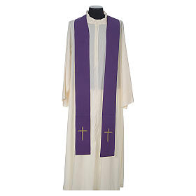 Chasuble in wool with velvet IHS symbol and embroidery s12