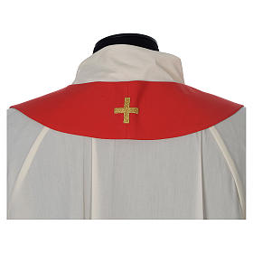 Chasuble in wool with velvet IHS symbol and embroidery s13
