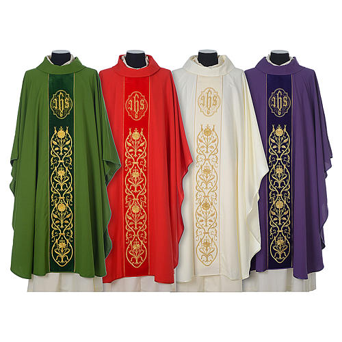 Chasuble in wool with velvet IHS symbol and embroidery 1
