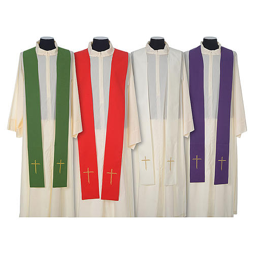 Chasuble in wool with velvet IHS symbol and embroidery 8