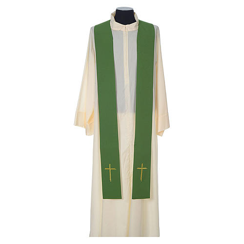 Chasuble in wool with velvet IHS symbol and embroidery 9