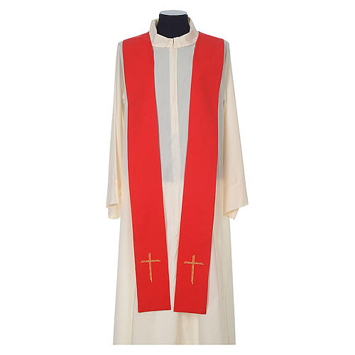 Chasuble in wool with velvet IHS symbol and embroidery 10