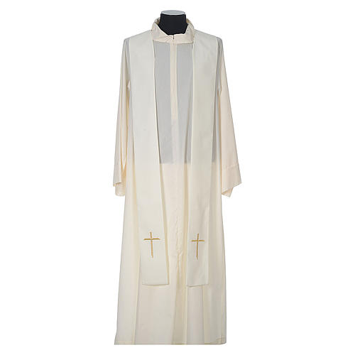 Chasuble in wool with velvet IHS symbol and embroidery 11