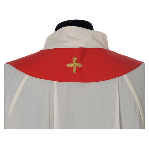Chasuble in wool with velvet IHS symbol and embroidery 13
