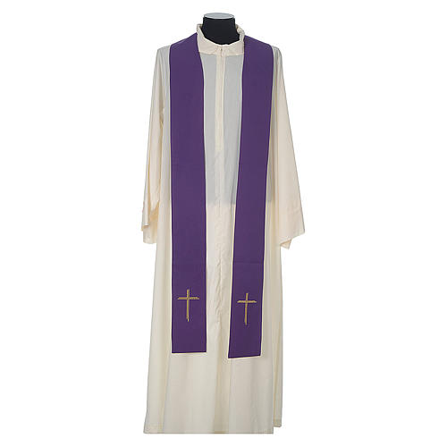 Chasuble laine bande centrale velours IHS et broderie 12