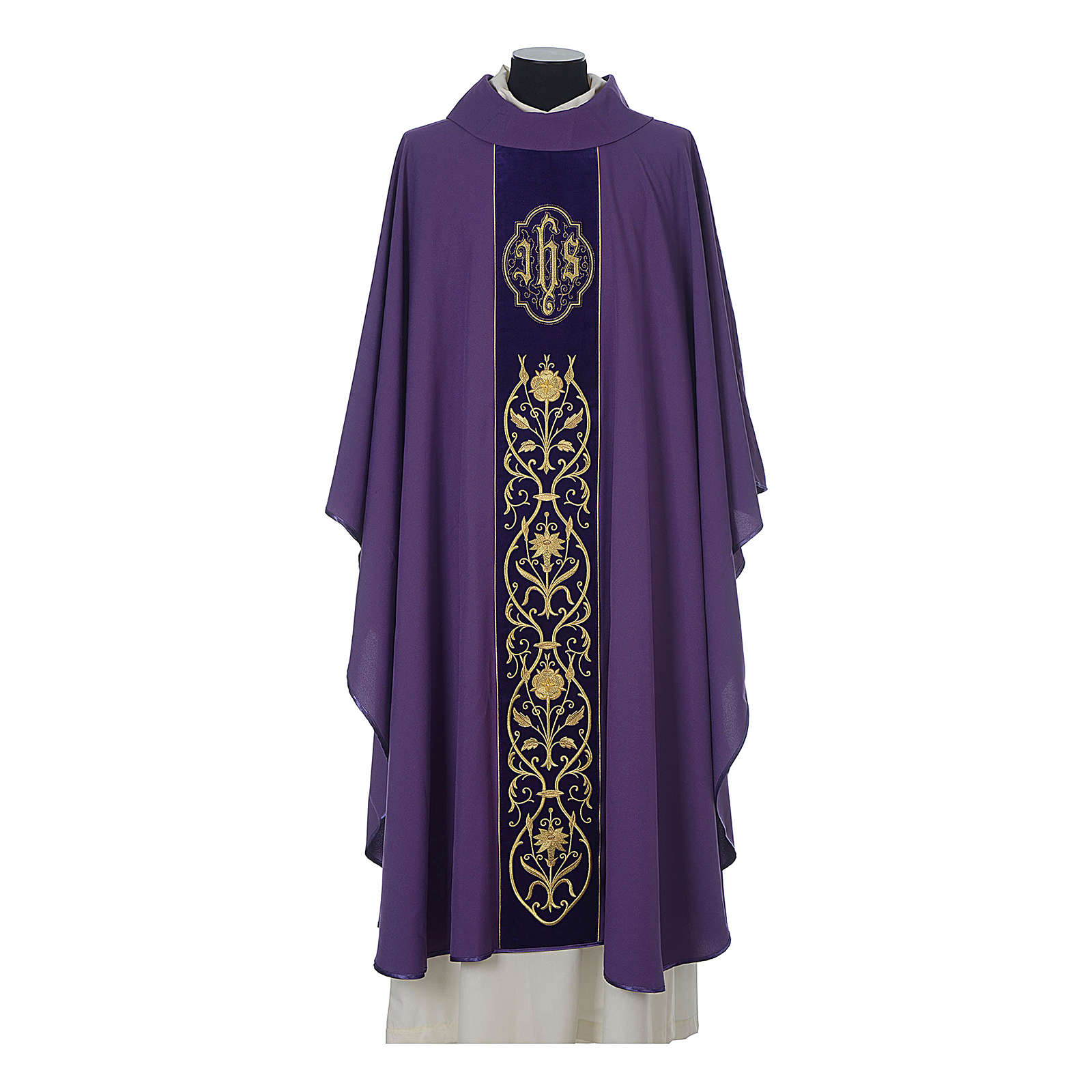 Wool chasuble with IHS floral decorations on velvet galloon 4