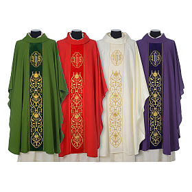 Wool chasuble with IHS floral decorations on velvet galloon s1