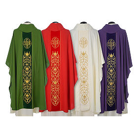 Wool chasuble with IHS floral decorations on velvet galloon s2