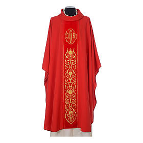 Wool chasuble with IHS floral decorations on velvet galloon s4