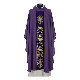 Wool chasuble with IHS floral decorations on velvet galloon s6
