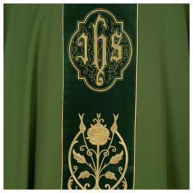 Wool chasuble with IHS floral decorations on velvet galloon s7